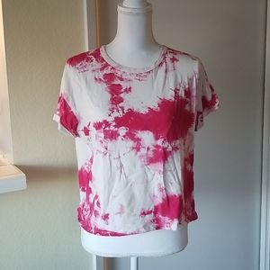🐳Zara Pink Splotchy Tie Dye Cropped Top